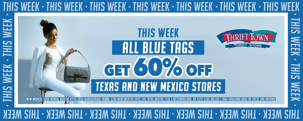 Blue tag 60% off